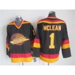 Men's Vancouver Canucks #1 Kirk Mclean 1985-86 Black CCM Throwback Jersey