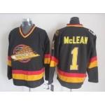 Men's Vancouver Canucks #1 Kirk Mclean Black Throwback CCM Jersey