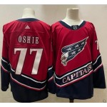 Men's Washington Capitals #77 T.J. Oshie Red 2021 Reverse Retro Jersey