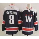 Men's Washington Capitals #8 Alexander Ovechkin Navy New Third Adidas Jersey