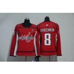 Women Washington Capitals #8 Alex Ovechkin Red Adidas Jersey