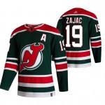New Jersey Devils #19 Travis Zajac Green Men's Adidas 2020-21 Reverse Retro Alternate NHL Jersey