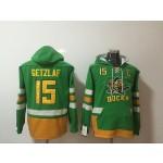 NHL Anaheim Ducks #15 Ryan Getzlaf Green All Stitched Hooded Sweatshirt