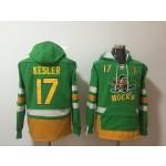 NHL Anaheim Ducks #17 Ryan Kesler Green All Stitched Hooded Sweatshirt