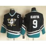 Youth Throwback Anaheim Ducks Paul Kariya #9 Black 1990's Away Jersey