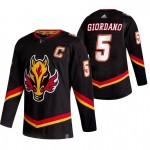 Calgary Flames #5 Mark Giordano Black Men's Adidas 2020-21 Reverse Retro Alternate NHL Jersey