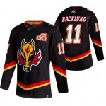 Calgary Flames #11 Mikael Backlund Black Men's Adidas 2020-21 Reverse Retro Alternate NHL Jersey