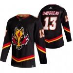 Calgary Flames #13 Johnny Gaudreau Black Men's Adidas 2020-21 Reverse Retro Alternate NHL Jersey