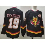Calgary Flames #19 Matthew Tkachuk Black Men's Adidas 2020-21 Reverse Retro Alternate NHL Jersey