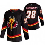 Calgary Flames #28 Elias Lindholm Black Men's Adidas 2020-21 Reverse Retro Alternate NHL Jersey