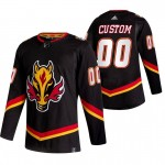 Calgary Flames Custom Black Men's Adidas 2020-21 Reverse Retro Alternate NHL Jersey (Name and number remark in comment column)