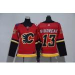 Women Calgary Flames #13 Johnny Gaudreau Red Adidas Jersey