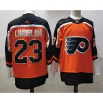 Philadelphia Flyers #23 Oskar Lindblom Orange Men's Adidas 2020-21 Reverse Retro Alternate NHL Jersey