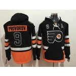 NHL Philadelphia Flyers #9 Ivan Provorov Black All Stitched Hooded Sweatshirt