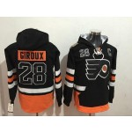 NHL Philadelphia Flyers #28 Claude Giroux Black All Stitched Hooded Sweatshirt