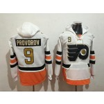 NHL Philadelphia Flyers #9 Ivan Provorov White Gold All Stitched Hooded Sweatshirt