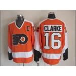 Men's Philadelphia Flyers #16 Bobby Clarke Orange Throwback CCM Jersey