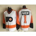 Men's Philadelphia Flyers #1 Bernie Parent White Throwback CCM Jersey
