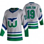 Carolina Hurricanes #19 Dougie Hamilton Grey Men's Adidas 2020-21 Reverse Retro Alternate NHL Jersey
