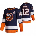 New York Islanders #12 Josh Bailey Navy Blue Men's Adidas 2020-21 Reverse Retro Alternate NHL Jersey