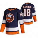 New York Islanders #18 Anthony Beauvillier Navy Blue Men's Adidas 2020-21 Reverse Retro Alternate NHL Jersey