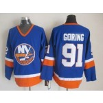 Men's New York Islanders #91 Butch Goring Royal Blue Throwback CCM Jersey