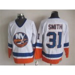 Men's New York Islanders #31 Billy Smith White Throwback CCM Jersey