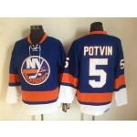 Men's New York Islanders #5 Denis Potvin Blue 3rd Throwback CCM Jersey