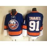 Men's New York Islanders #91 John Tavares Blue 3rd Throwback CCM Jersey