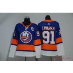 Women New York Islanders #91 John Tavares Blue Adidas Jersey