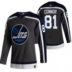 Winnipeg Jets #81 Kyle Connor Black Men's Adidas 2020-21 Reverse Retro Alternate NHL Jersey