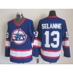 Men's Winnipeg Jets #13 Teemu Selanne Blue CCM Throwback Jersey