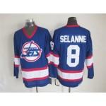 Men's Winnipeg Jets #8 Teemu Selanne Blue CCM Throwback Jersey