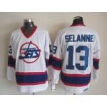 Men's Winnipeg Jets #13 Teemu Selanne White CCM Throwback Jersey