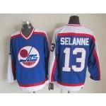 Men's Winnipeg Jets #13 Teemu Selanne 1979-80 Blue CCM Throwback Jersey
