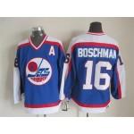 Men's Winnipeg Jets #16 Laurie Boschman 1979-80 Blue CCM Throwback Jersey