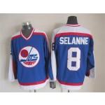 Men's Winnipeg Jets #8 Teemu Selanne 1979-80 Blue CCM Throwback Jersey