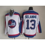 Men's Winnipeg Jets #13 Teemu Selanne 1979-80 White CCM Throwback Jersey