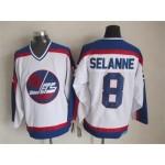 Men's Winnipeg Jets #8 Teemu Selanne 1979-80 White CCM Throwback Jersey