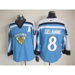 Men's Winnipeg Jets #8 Teemu Selanne Sky blue Throwback Jersey