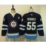 Women Winnipeg Jets #55 Mark Scheifele Navy blue Adidas Jersey