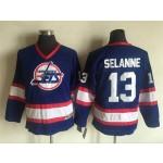 Youth Winnipeg Jets #13 Teemu Selanne Blue CCM Throwback Jersey