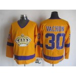 Men's Los Angeles Kings #30 Rogie Vachon Yellow Throwback CCM Jersey