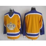 Men's Los Angeles Kings Yellow With Purple Throwback CCM Jersey