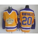Men's Los Angeles Kings #20 Luc Robitaille Yellow With Purple Throwback CCM Jersey