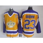 Men's Los Angeles Kings #23 Dustin Brown Yellow With Purple Throwback CCM Jersey