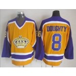 Men's Los Angeles Kings #8 Drew Doughty Yellow With Purple Throwback CCM Jersey