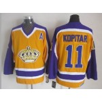 Men's Los Angeles Kings #11 Anze Kopitar Yellow With Purple Throwback CCM Jersey