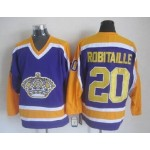 Men's Los Angeles Kings #20 Luc Robitaille Purple With Yellow Throwback CCM Jersey