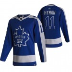 Toronto Maple Leafs #11 Zach Hyman Blue Men's Adidas 2020-21 Reverse Retro Alternate NHL Jersey